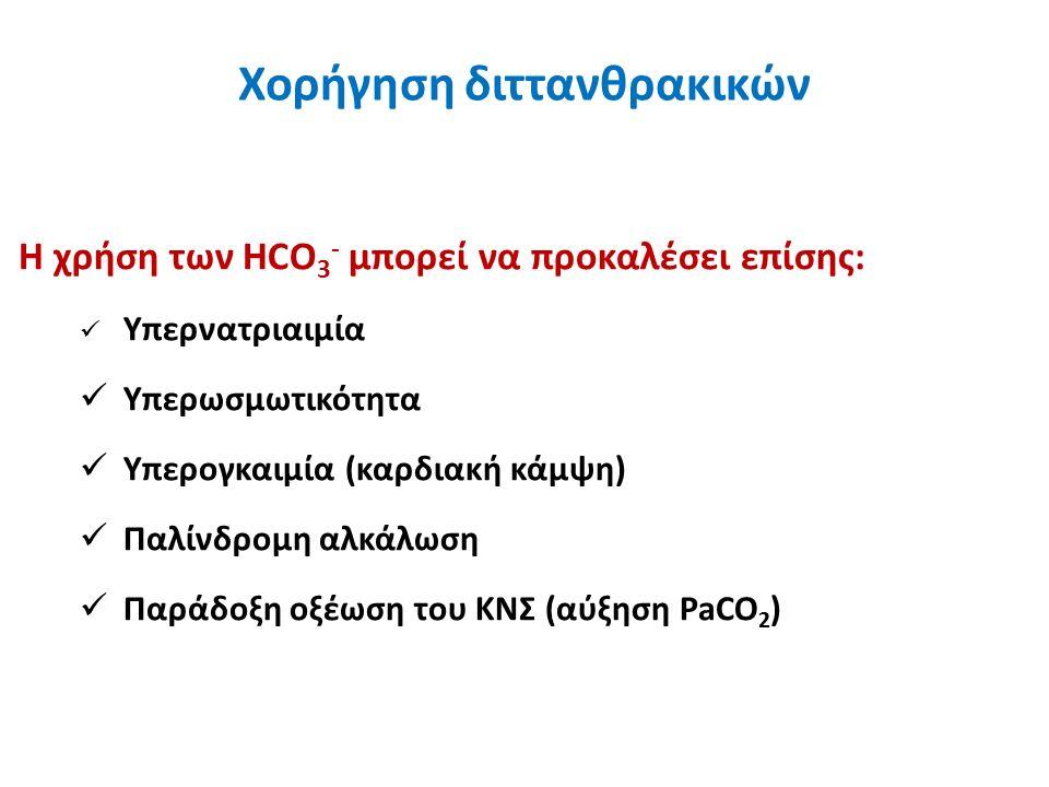 Η χρήση των HCO 3 - μπορεί να προκαλέσει επίσης: Υπερνατριαιμία Υπερωσμωτικότητα Υπερογκαιμία (καρδιακή κάμψη) Παλίνδρομη αλκάλωση Παράδοξη οξέωση του ΚΝΣ (αύξηση PaCO 2 ) Χορήγηση διττανθρακικών