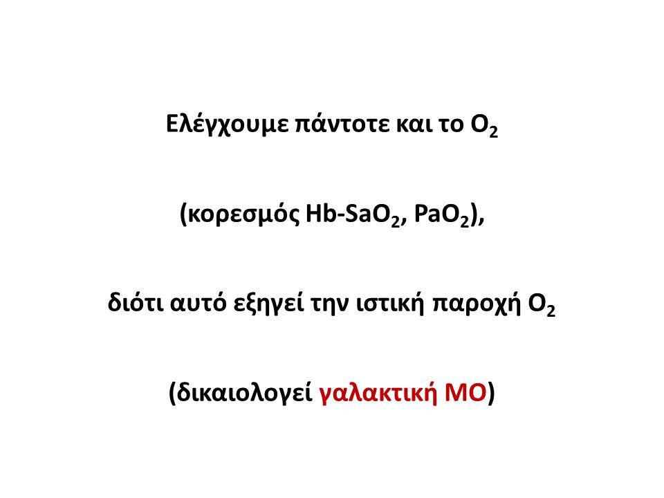 Ελέγχουμε πάντοτε και το Ο 2 (κορεσμός Hb-SaO 2, PaO 2 ), διότι αυτό εξηγεί την ιστική παροχή Ο 2 (δικαιολογεί γαλακτική ΜΟ)