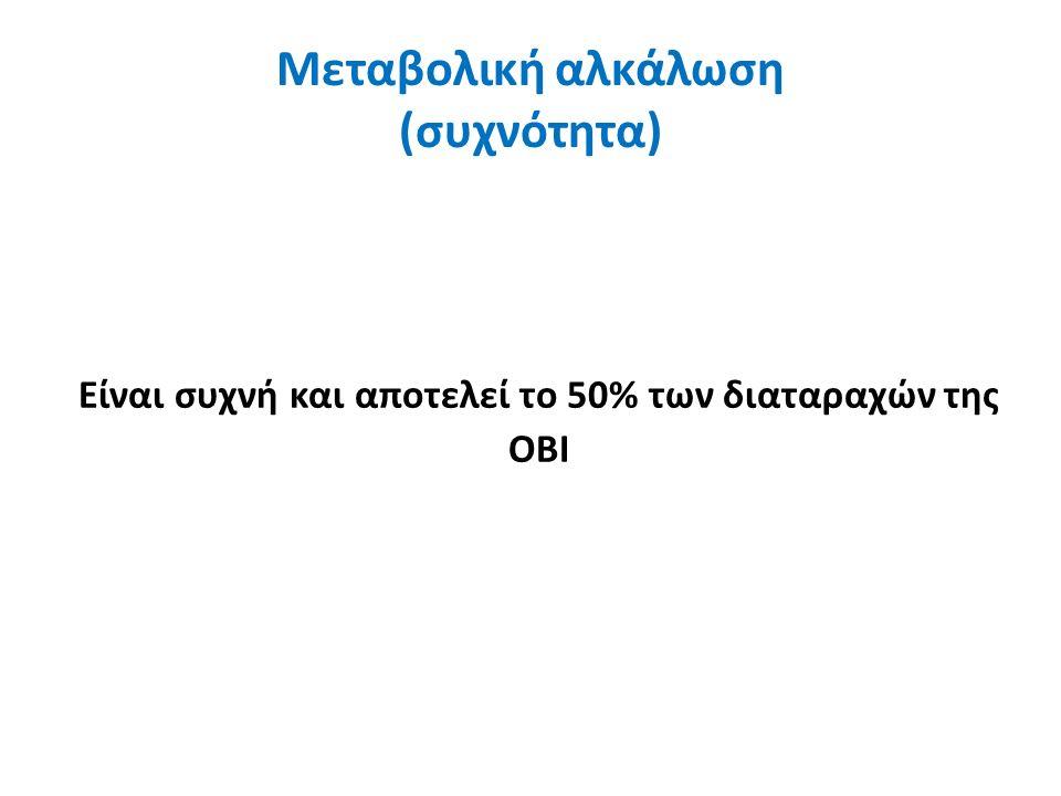 Μεταβολική αλκάλωση (συχνότητα) Είναι συχνή και αποτελεί το 50% των διαταραχών της ΟΒΙ