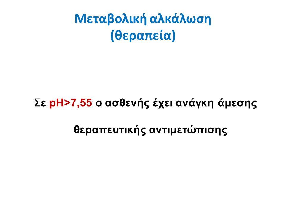 Μεταβολική αλκάλωση (θεραπεία) Σε pH>7,55 ο ασθενής έχει ανάγκη άμεσης θεραπευτικής αντιμετώπισης