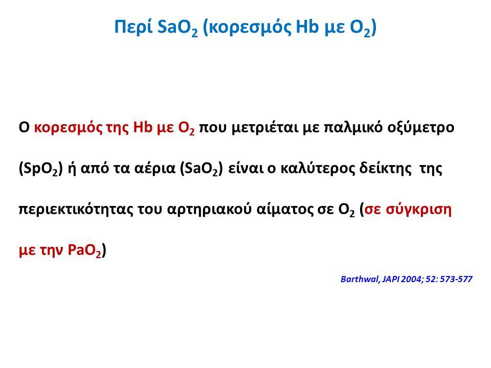 Ο κορεσμός της Hb με Ο 2 που μετριέται με παλμικό οξύμετρο (SpO 2 ) ή από τα αέρια (SaO 2 ) είναι o καλύτερος δείκτης της περιεκτικότητας του αρτηριακού αίματος σε Ο 2 (σε σύγκριση με την PaO 2 ) Barthwal, JAPI 2004; 52: 573-577 Περί SaO 2 (κορεσμός Hb με Ο 2 )