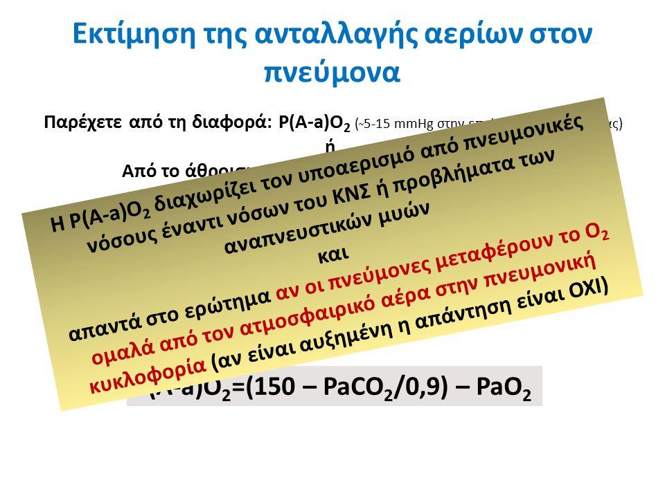 Εκτίμηση της ανταλλαγής αερίων στον πνεύμονα Παρέχετε από τη διαφορά: P(A-a)O 2 ( ~ 5-15 mmHg στην επιφάνεια της θάλασσας) ή Από το άθροισμα: PaO 2 + PaCO 2 (φ.τ.