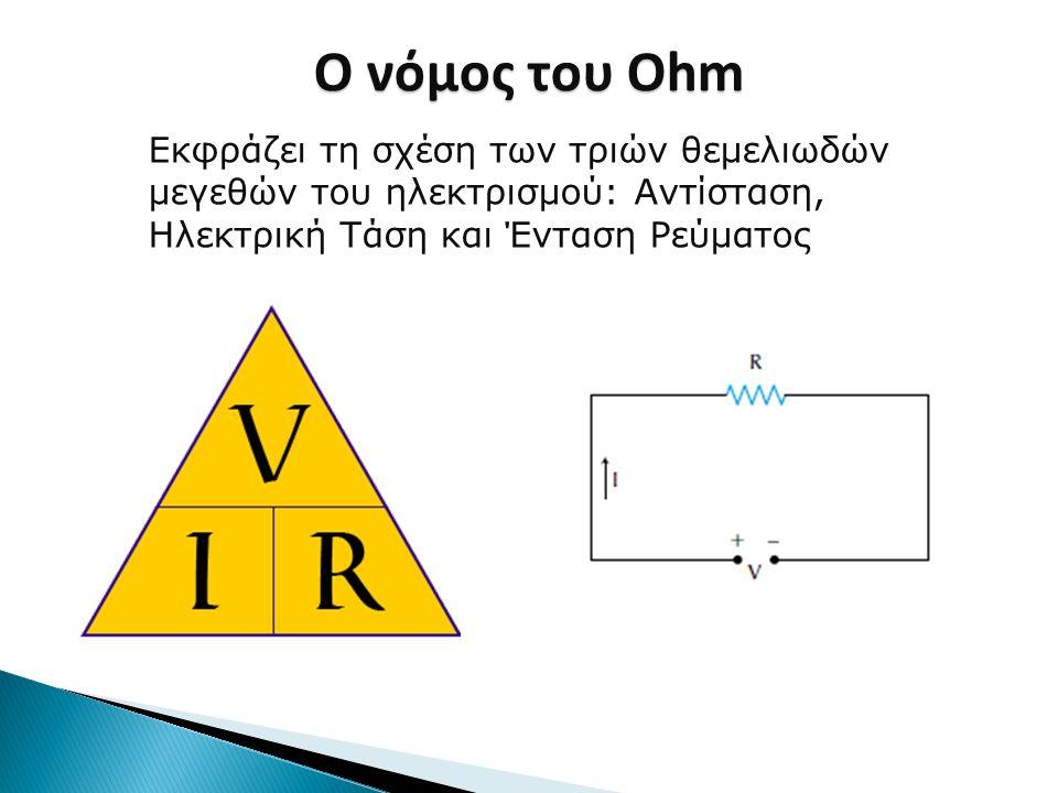 Ο νόμος του Ohm Εκφράζει τη σχέση των τριών θεμελιωδών μεγεθών του ηλεκτρισμού: Αντίσταση, Ηλεκτρική Τάση και Ένταση Ρεύματος