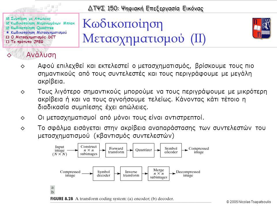 ΔΤΨΣ 150: Ψηφιακή Επεξεργασία Εικόνας © 2005 Nicolas Tsapatsoulis ◊Ανάλυση ◊Αφού επιλεχθεί και εκτελεστεί ο μετασχηματισμός, βρίσκουμε τους πιο σημαντ