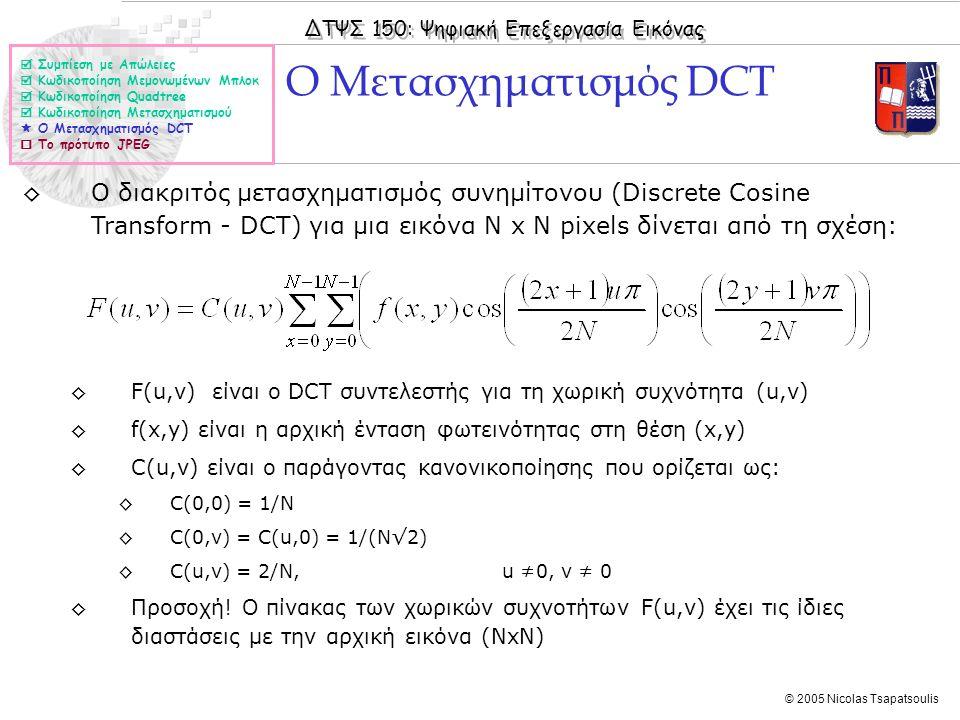 ΔΤΨΣ 150: Ψηφιακή Επεξεργασία Εικόνας © 2005 Nicolas Tsapatsoulis ◊Ο διακριτός μετασχηματισμός συνημίτονου (Discrete Cosine Transform - DCT) για μια ε