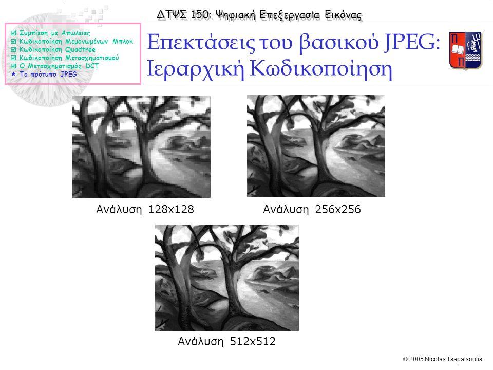 ΔΤΨΣ 150: Ψηφιακή Επεξεργασία Εικόνας © 2005 Nicolas Tsapatsoulis Επεκτάσεις του βασικού JPEG: Ιεραρχική Κωδικοποίηση  Συμπίεση με Απώλειες  Κωδικοπ