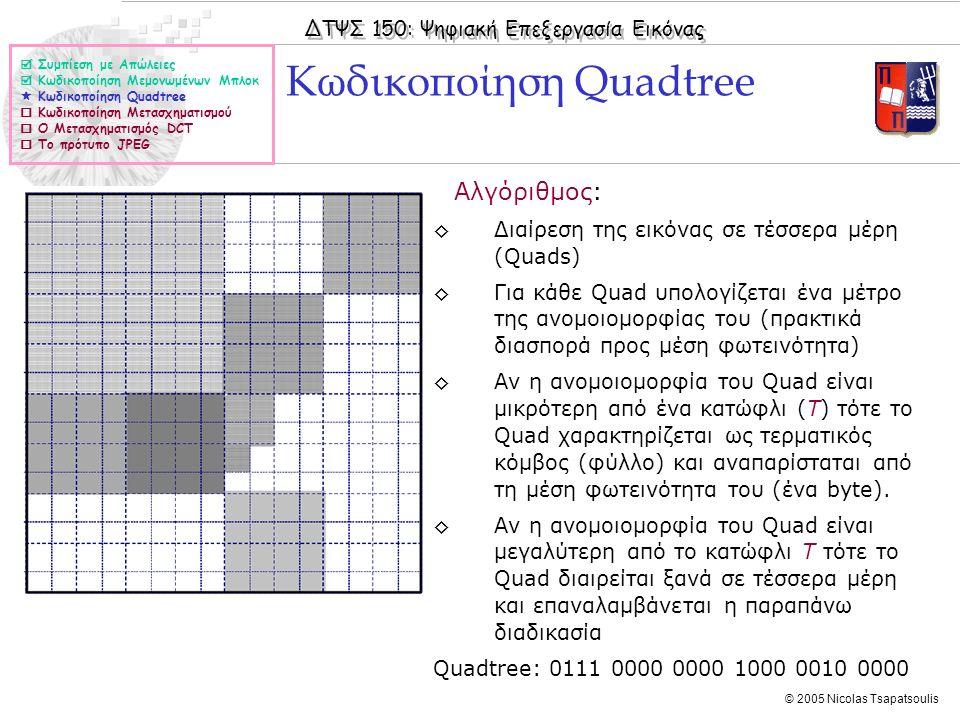 ΔΤΨΣ 150: Ψηφιακή Επεξεργασία Εικόνας © 2005 Nicolas Tsapatsoulis ◊Αλγόριθμος: ◊Διαίρεση της εικόνας σε τέσσερα μέρη (Quads) ◊Για κάθε Quad υπολογίζετ