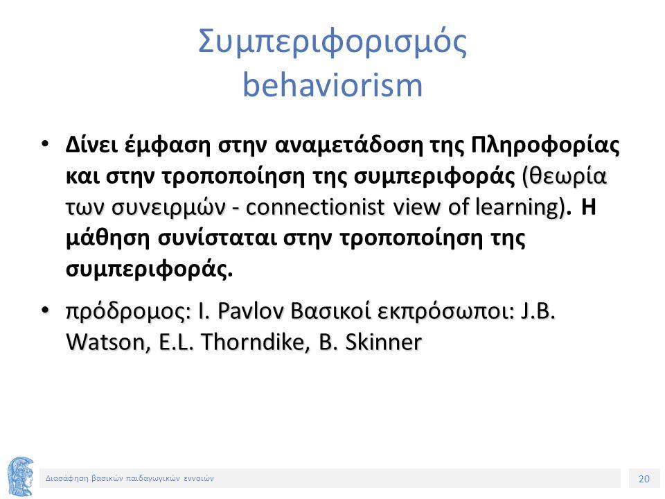 20 Διασάφηση βασικών παιδαγωγικών εννοιών Συμπεριφορισμός behaviorism (θεωρία των συνειρμών - connectionist view of learning) Δίνει έμφαση στην αναμετάδοση της Πληροφορίας και στην τροποποίηση της συμπεριφοράς (θεωρία των συνειρμών - connectionist view of learning).