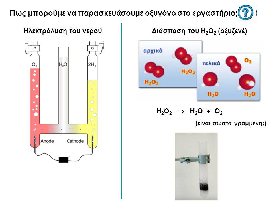Πως μπορούμε να παρασκευάσουμε οξυγόνο στο εργαστήριο; Ηλεκτρόλυση του νερούΔιάσπαση του H 2 O 2 (οξυζενέ) H 2 O 2  H 2 O + O 2 (είναι σωστά γραμμένη