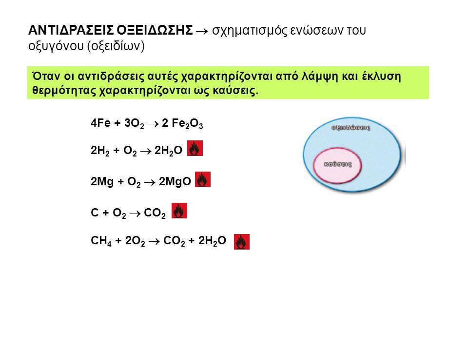 ΑΝΤΙΔΡΑΣΕΙΣ ΟΞΕΙΔΩΣΗΣ  σχηματισμός ενώσεων του οξυγόνου (οξειδίων) Όταν οι αντιδράσεις αυτές χαρακτηρίζονται από λάμψη και έκλυση θερμότητας χαρακτηρ