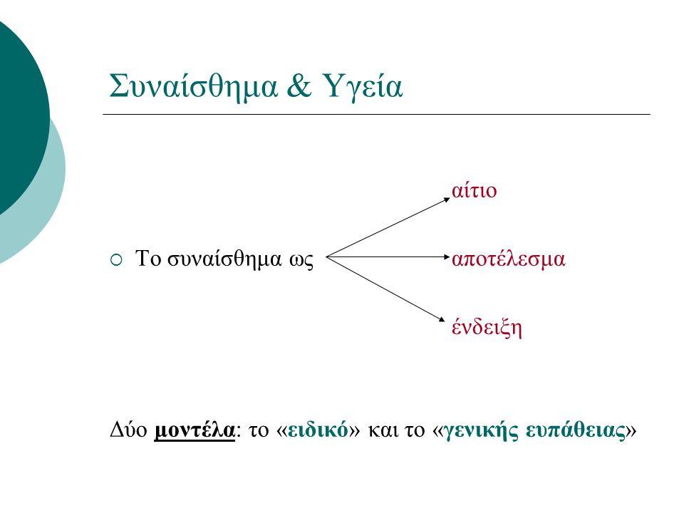 Συναίσθημα & Υγεία αίτιο  Το συναίσθημα ωςαποτέλεσμα ένδειξη Δύο μοντέλα: το «ειδικό» και το «γενικής ευπάθειας»