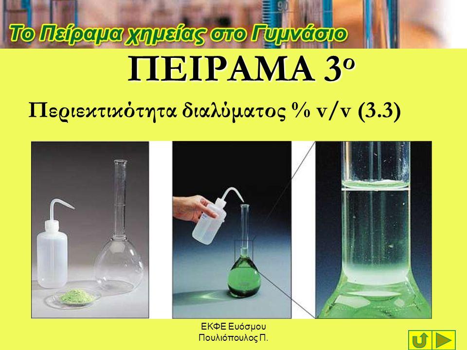 ΕΚΦΕ Ευόσμου Πουλιόπουλος Π. ΠΕΙΡΑΜΑ 3 ο Περιεκτικότητα διαλύματος % v/v (3.3)