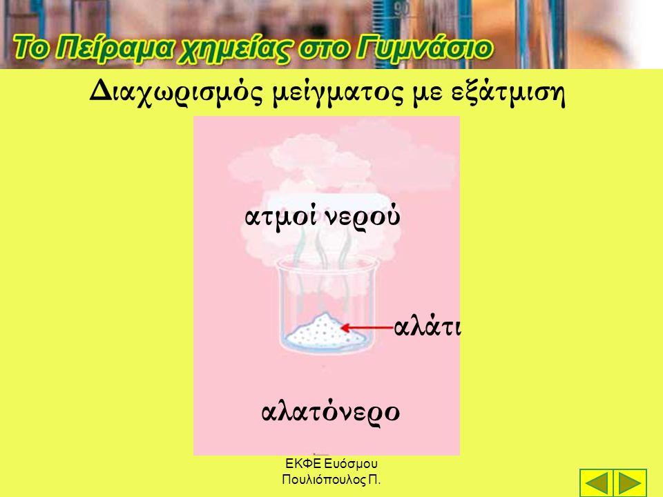 ΕΚΦΕ Ευόσμου Πουλιόπουλος Π. ατμοί νερού αλατόνερο αλάτι Διαχωρισμός μείγματος με εξάτμιση