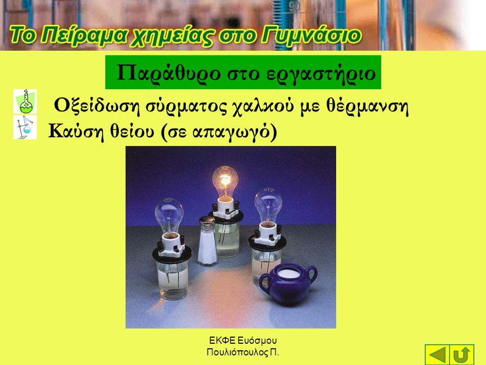 ΕΚΦΕ Ευόσμου Πουλιόπουλος Π. Παράθυρο στο εργαστήριο Οξείδωση σύρματος χαλκού με θέρμανση Καύση θείου (σε απαγωγό)