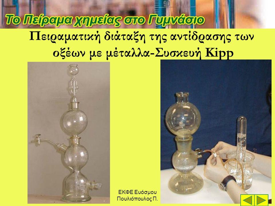 ΕΚΦΕ Ευόσμου Πουλιόπουλος Π. Πειραματική διάταξη της αντίδρασης των οξέων με μέταλλα-Συσκευή Kipp