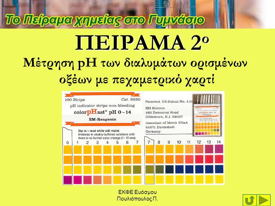 ΕΚΦΕ Ευόσμου Πουλιόπουλος Π. ΠΕΙΡΑΜΑ 2 ο Μέτρηση pH των διαλυμάτων ορισμένων οξέων με πεχαμετρικό χαρτί