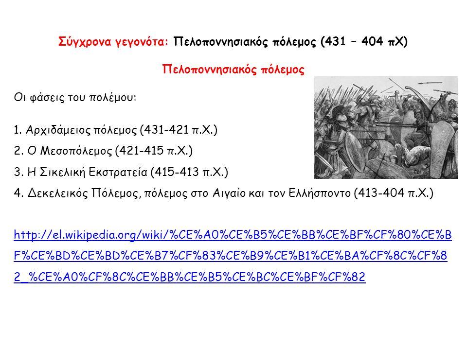 Σύγχρονα γεγονότα: Πελοποννησιακός πόλεμος (431 – 404 πΧ) Πελοποννησιακός πόλεμος Οι φάσεις του πολέμου: 1. Αρχιδάμειος πόλεμος (431-421 π.Χ.) 2. Ο Με
