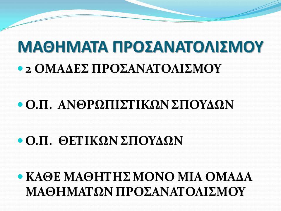 ΜΑΘΗΜΑΤΑ ΠΡΟΣΑΝΑΤΟΛΙΣΜΟΥ 2 ΟΜΑΔΕΣ ΠΡΟΣΑΝΑΤΟΛΙΣΜΟΥ Ο.Π. ΑΝΘΡΩΠΙΣΤΙΚΩΝ ΣΠΟΥΔΩΝ Ο.Π. ΘΕΤΙΚΩΝ ΣΠΟΥΔΩΝ ΚΑΘΕ ΜΑΘΗΤΗΣ ΜΟΝΟ ΜΙΑ ΟΜΑΔΑ ΜΑΘΗΜΑΤΩΝ ΠΡΟΣΑΝΑΤΟΛΙΣΜΟ