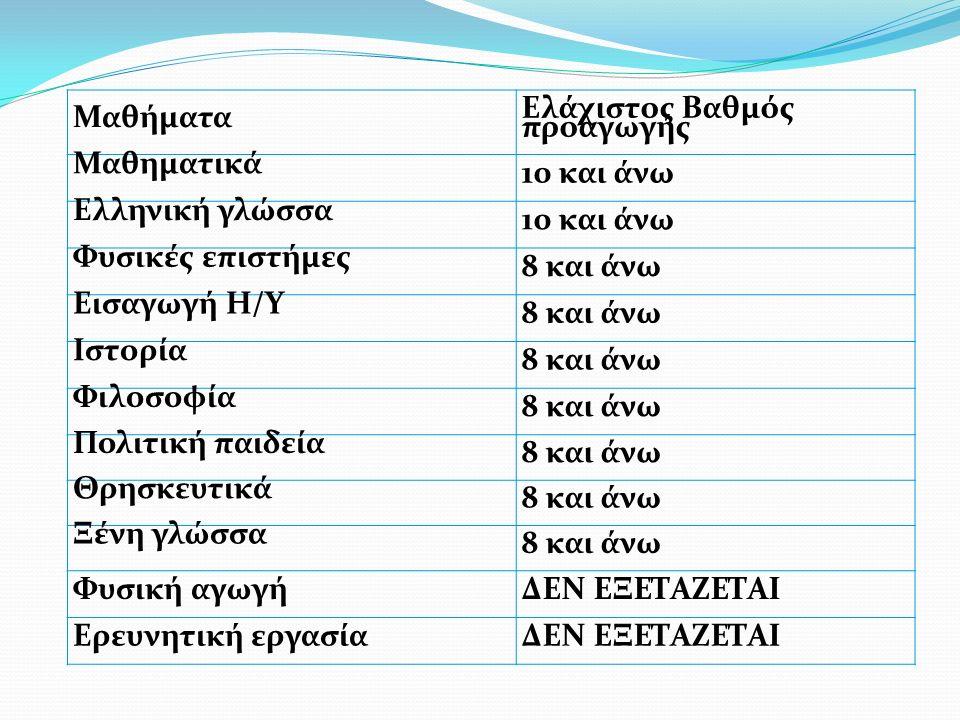 Μαθήματα Ελάχιστος Βαθμός προαγωγής Μαθηματικά 10 και άνω Ελληνική γλώσσα 10 και άνω Φυσικές επιστήμες 8 και άνω Εισαγωγή Η/Υ 8 και άνω Ιστορία 8 και