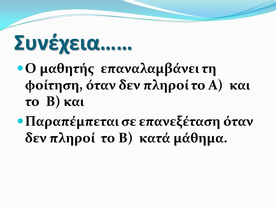Συνέχεια…… Ο μαθητής επαναλαμβάνει τη φοίτηση, όταν δεν πληροί το Α) και το Β) και Παραπέμπεται σε επανεξέταση όταν δεν πληροί το Β) κατά μάθημα.