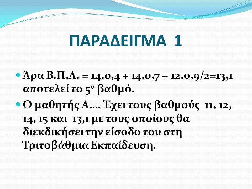 ΠΑΡΑΔΕΙΓΜΑ 1 Άρα Β.Π.Α. = 14.0,4 + 14.0,7 + 12.0,9/2=13,1 αποτελεί το 5 ο βαθμό. Ο μαθητής Α…. Έχει τους βαθμούς 11, 12, 14, 15 και 13,1 με τους οποίο