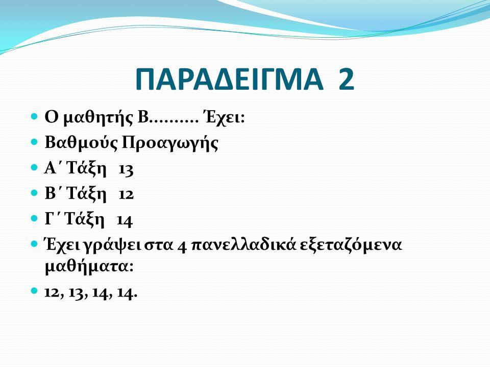 ΠΑΡΑΔΕΙΓΜΑ 2 Ο μαθητής Β.......... Έχει: Βαθμούς Προαγωγής Α΄ Τάξη 13 Β΄ Τάξη 12 Γ΄ Τάξη 14 Έχει γράψει στα 4 πανελλαδικά εξεταζόμενα μαθήματα: 12, 13