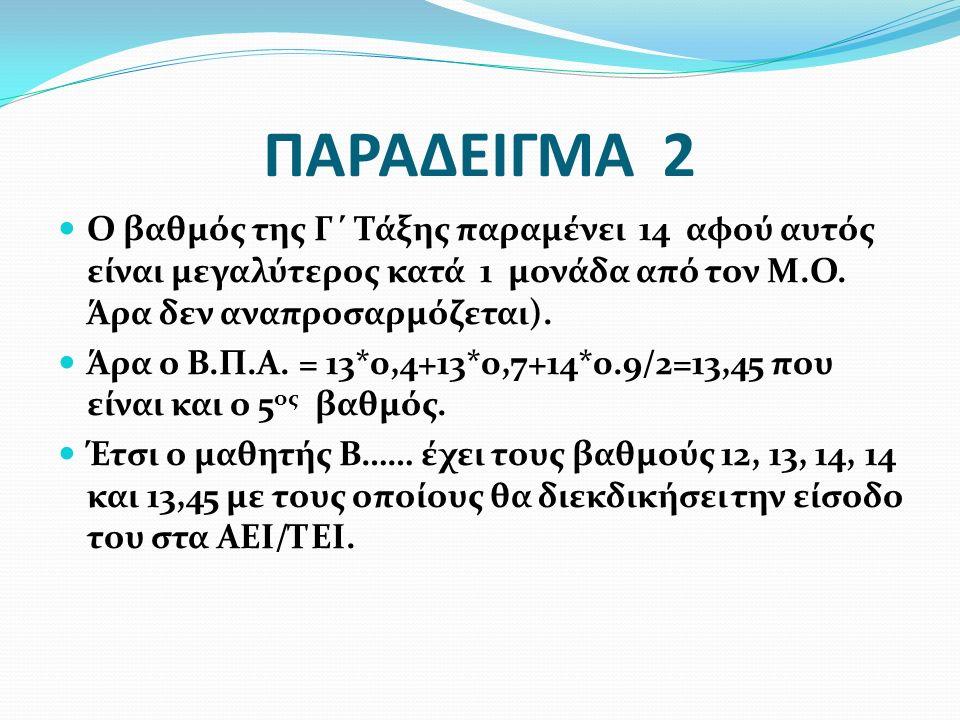 ΠΑΡΑΔΕΙΓΜΑ 2 Ο βαθμός της Γ΄ Τάξης παραμένει 14 αφού αυτός είναι μεγαλύτερος κατά 1 μονάδα από τον Μ.Ο. Άρα δεν αναπροσαρμόζεται). Άρα ο Β.Π.Α. = 13*0