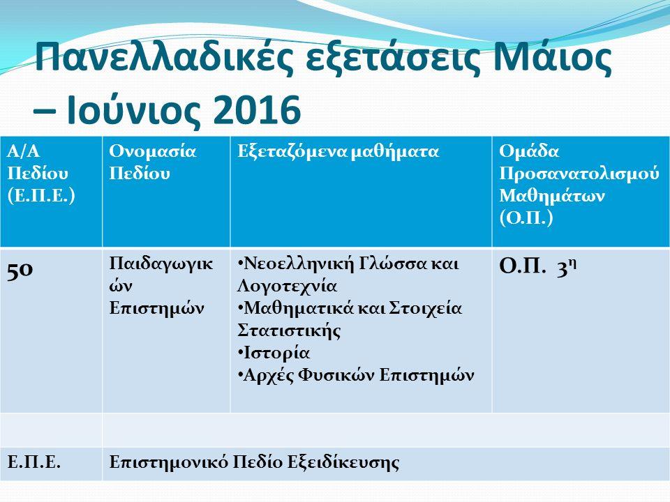 Πανελλαδικές εξετάσεις Μάιος – Ιούνιος 2016 Α/Α Πεδίου (Ε.Π.Ε.) Ονομασία Πεδίου Εξεταζόμενα μαθήματαΟμάδα Προσανατολισμού Μαθημάτων (Ο.Π.) 5ο Παιδαγωγ