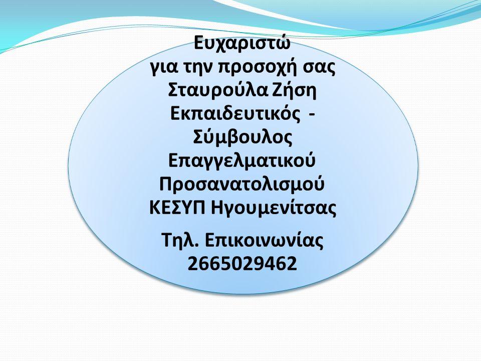 Ευχαριστώ για την προσοχή σας Σταυρούλα Ζήση Εκπαιδευτικός - Σύμβουλος Επαγγελματικού Προσανατολισμού ΚΕΣΥΠ Ηγουμενίτσας Τηλ. Επικοινωνίας 2665029462