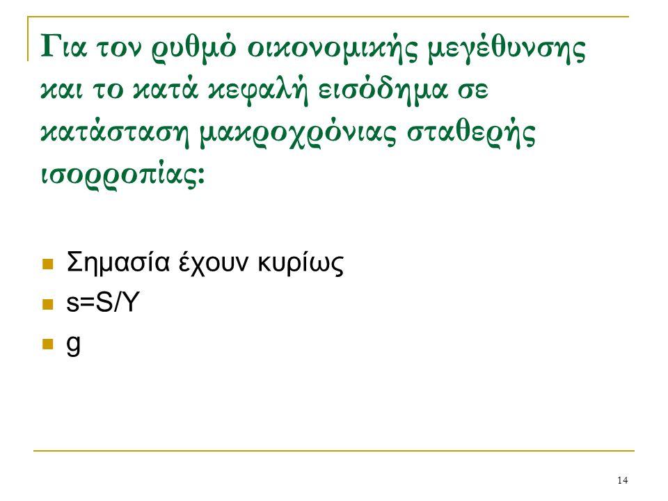 14 Για τον ρυθμό οικονομικής μεγέθυνσης και το κατά κεφαλή εισόδημα σε κατάσταση μακροχρόνιας σταθερής ισορροπίας: Σημασία έχουν κυρίως s=S/Y g
