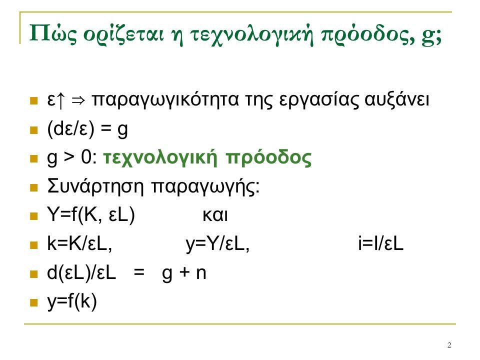 2 Πώς ορίζεται η τεχνολογική πρόοδος, g; ε↑ ⇒ παραγωγικότητα της εργασίας αυξάνει (dε/ε) = g g > 0: τεχνολογική πρόοδος Συνάρτηση παραγωγής: Υ=f(K, εL) και k=K/εL, y=Y/εL, i=I/εL d(εL)/εL = g + n y=f(k)