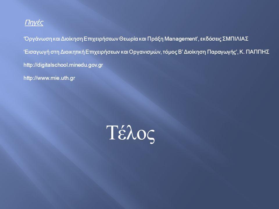 Πηγές 'Όργάνωση και Διοίκηση Επιχειρήσεων Θεωρία και Πράξη Management', εκδόσεις ΣΜΠΙΛΙΑΣ 'Εισαγωγή στη Διοικητική Επιχειρήσεων και Οργανισμών, τόμος Β' Διοίκηση Παραγωγής', Κ.