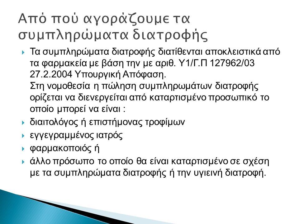  Τα συμπληρώματα διατροφής διατίθενται αποκλειστικά από τα φαρμακεία με βάση την με αριθ. Υ1/Γ.Π 127962/03 27.2.2004 Υπουργική Απόφαση. Στη νομοθεσία