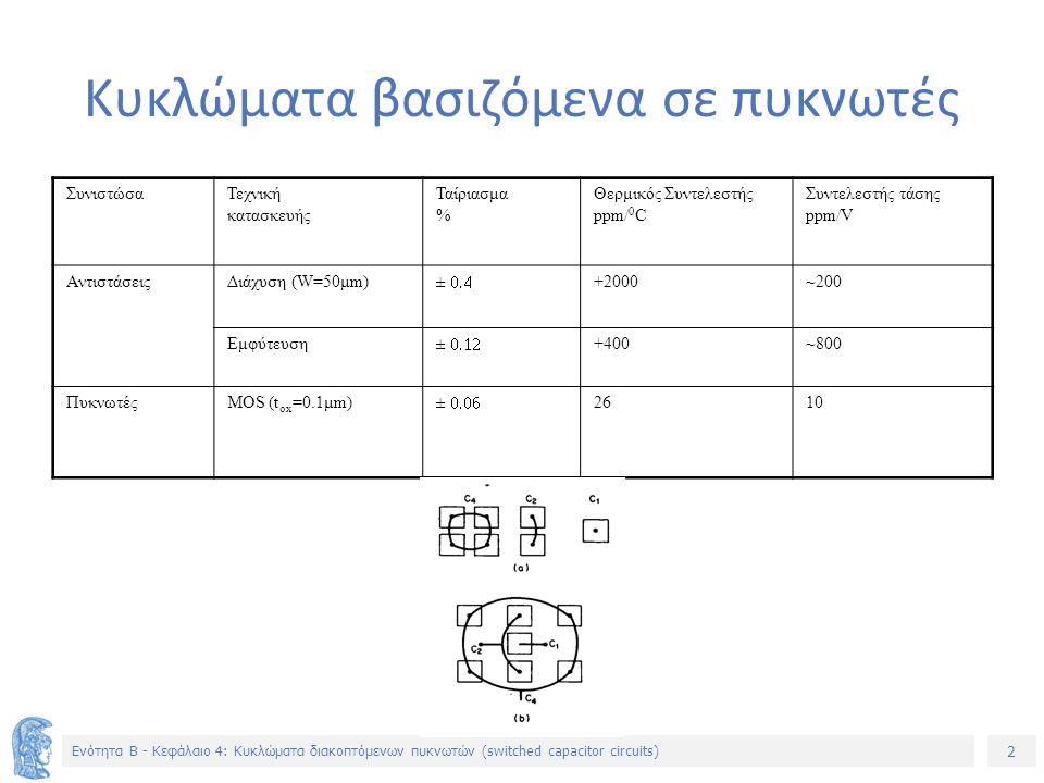 2 Ενότητα B - Κεφάλαιο 4: Κυκλώματα διακοπτόμενων πυκνωτών (switched capacitor circuits) Κυκλώματα βασιζόμενα σε πυκνωτές ΣυνιστώσαΤεχνική κατασκευής Ταίριασμα % Θερμικός Συντελεστής ppm/ 0 C Συντελεστής τάσης ppm/V ΑντιστάσειςΔιάχυση (W=50μm)  +2000~200 Εμφύτευση  +400~800 ΠυκνωτέςMOS (t ox =0.1μm)  2610
