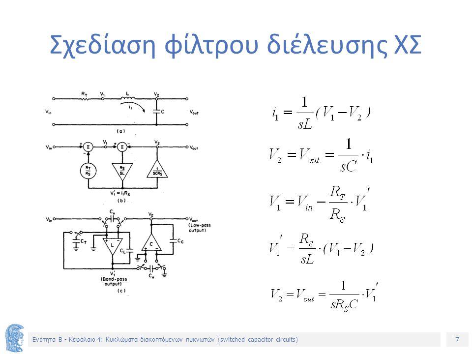 7 Ενότητα B - Κεφάλαιο 4: Κυκλώματα διακοπτόμενων πυκνωτών (switched capacitor circuits) Σχεδίαση φίλτρου διέλευσης ΧΣ