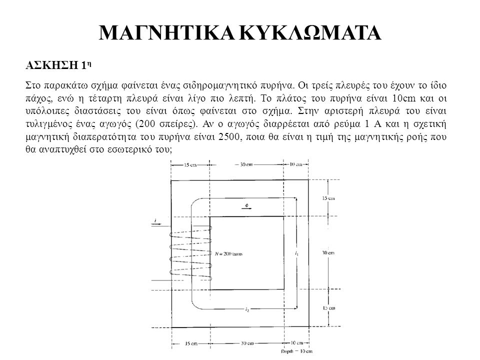 ΜΑΓΝΗΤΙΚΑ ΚΥΚΛΩΜΑΤΑ ΑΣΚΗΣΗ 1 η Στο παρακάτω σχήμα φαίνεται ένας σιδηρομαγνητικό πυρήνα. Οι τρείς πλευρές του έχουν το ίδιο πάχος, ενώ η τέταρτη πλευρά