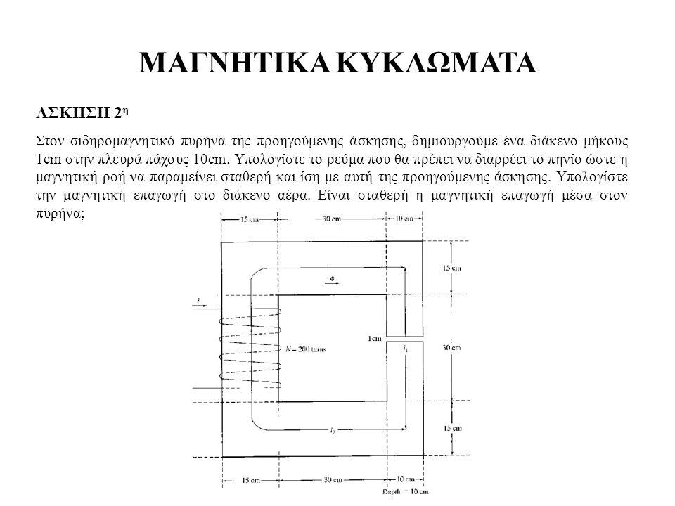 ΜΑΓΝΗΤΙΚΑ ΚΥΚΛΩΜΑΤΑ ΑΣΚΗΣΗ 2 η Στον σιδηρομαγνητικό πυρήνα της προηγούμενης άσκησης, δημιουργούμε ένα διάκενο μήκους 1cm στην πλευρά πάχους 10cm. Υπολ