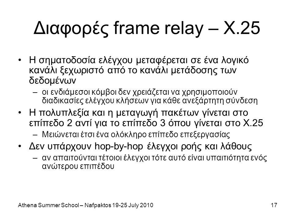 Athena Summer School – Nafpaktos 19-25 July 201017 Διαφορές frame relay – X.25 Η σηματοδοσία ελέγχου μεταφέρεται σε ένα λογικό κανάλι ξεχωριστό από το κανάλι μετάδοσης των δεδομένων –οι ενδιάμεσοι κόμβοι δεν χρειάζεται να χρησιμοποιούν διαδικασίες ελέγχου κλήσεων για κάθε ανεξάρτητη σύνδεση Η πολυπλεξία και η μεταγωγή πακέτων γίνεται στο επίπεδο 2 αντί για το επίπεδο 3 όπου γίνεται στο Χ.25 –Μειώνεται έτσι ένα ολόκληρο επίπεδο επεξεργασίας Δεν υπάρχουν hop-by-hop έλεγχοι ροής και λάθους –αν απαιτούνται τέτοιοι έλεγχοι τότε αυτό είναι υπαιτιότητα ενός ανώτερου επιπέδου