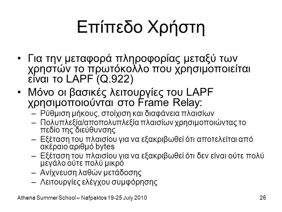 Athena Summer School – Nafpaktos 19-25 July 201026 Επίπεδο Χρήστη Για την μεταφορά πληροφορίας μεταξύ των χρηστών το πρωτόκολλο που χρησιμοποιείται είναι το LAPF (Q.922) Μόνο οι βασικές λειτουργίες του LAPF χρησιμοποιούνται στο Frame Relay: –Ρύθμιση μήκους, στοίχιση και διαφάνεια πλαισίων –Πολυπλεξία/αποπολυπλεξία πλαισίων χρησιμοποιώντας το πεδίο της διεύθυνσης –Εξέταση του πλαισίου για να εξακριβωθεί ότι αποτελείται από ακέραιο αριθμό bytes –Εξέταση του πλαισίου για να εξακριβωθεί ότι δεν είναι ούτε πολύ μεγάλο ούτε πολύ μικρό –Ανίχνευση λαθών μετάδοσης –Λειτουργίες ελέγχου συμφόρησης