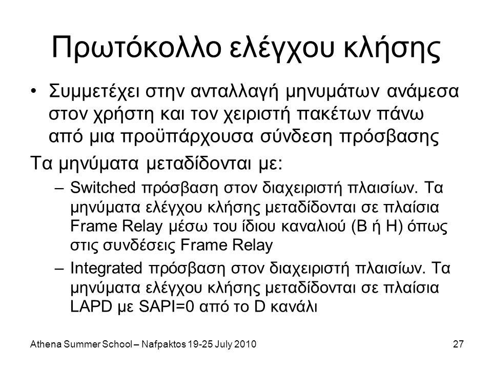 Athena Summer School – Nafpaktos 19-25 July 201027 Πρωτόκολλο ελέγχου κλήσης Συμμετέχει στην ανταλλαγή μηνυμάτων ανάμεσα στον χρήστη και τον χειριστή πακέτων πάνω από μια προϋπάρχουσα σύνδεση πρόσβασης Τα μηνύματα μεταδίδονται με: –Switched πρόσβαση στον διαχειριστή πλαισίων.