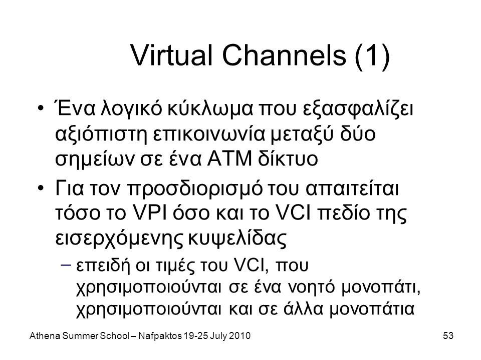 Athena Summer School – Nafpaktos 19-25 July 201053 Virtual Channels (1) Ένα λογικό κύκλωμα που εξασφαλίζει αξιόπιστη επικοινωνία μεταξύ δύο σημείων σε ένα ΑΤΜ δίκτυο Για τον προσδιορισμό του απαιτείται τόσο το VPI όσο και το VCI πεδίο της εισερχόμενης κυψελίδας – επειδή οι τιμές του VCI, που χρησιμοποιούνται σε ένα νοητό μονοπάτι, χρησιμοποιούνται και σε άλλα μονοπάτια