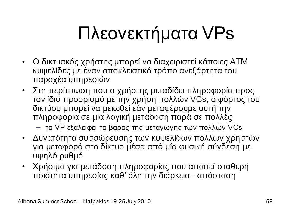 Athena Summer School – Nafpaktos 19-25 July 201058 Πλεονεκτήματα VPs Ο δικτυακός χρήστης μπορεί να διαχειριστεί κάποιες ATM κυψελίδες με έναν αποκλειστικό τρόπο ανεξάρτητα του παροχέα υπηρεσιών Στη περίπτωση που ο χρήστης μεταδίδει πληροφορία προς τον ίδιο προορισμό με την χρήση πολλών VCs, ο φόρτος του δικτύου μπορεί να μειωθεί εάν μεταφέρουμε αυτή την πληροφορία σε μία λογική μετάδοση παρά σε πολλές – το VP εξαλείφει το βάρος της μεταγωγής των πολλών VCs Δυνατότητα συσσώρευσης των κυψελίδων πολλών χρηστών για μεταφορά στο δίκτυο μέσα από μία φυσική σύνδεση με υψηλό ρυθμό Χρήσιμα για μετάδοση πληροφορίας που απαιτεί σταθερή ποιότητα υπηρεσίας καθ' όλη την διάρκεια - απόσταση