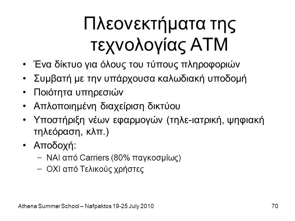 Athena Summer School – Nafpaktos 19-25 July 201070 Πλεονεκτήματα της τεχνολογίας ATM Ένα δίκτυο για όλους του τύπους πληροφοριών Συμβατή με την υπάρχουσα καλωδιακή υποδομή Ποιότητα υπηρεσιών Απλοποιημένη διαχείριση δικτύου Υποστήριξη νέων εφαρμογών (τηλε-ιατρική, ψηφιακή τηλεόραση, κλπ.) Αποδοχή: – ΝΑΙ από Carriers (80% παγκοσμίως) – ΟΧΙ από Τελικούς χρήστες
