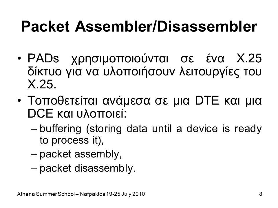 Athena Summer School – Nafpaktos 19-25 July 20108 Packet Assembler/Disassembler PADs χρησιμοποιούνται σε ένα Χ.25 δίκτυο για να υλοποιήσουν λειτουργίες του Χ.25.