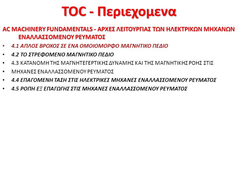 TOC - Περιεχομενα AC MACHINERY FUNDAMENTALS - ΑΡΧΕΣ ΛΕΙΤΟΥΡΓΙΑΣ ΤΩΝ ΗΛΕΚΤΡΙΚΩΝ ΜΗΧΑΝΩΝ ΕΝΑΛΛΑΣΣΟΜΕΝΟΥ ΡΕΥΜΑΤΟΣ 4.1 ΑΠΛΟΣ ΒΡΟΧΟΣ ΣΕ ΕΝΑ ΟΜΟΙΟΜΟΡΦΟ ΜΑΓΝΗΤΙΚΟ ΠΕΔΙΟ 4.2 ΤΟ ΣΤΡΕΦΟΜΕΝΟ ΜΑΓΝΗΤΙΚΟ ΠΕΔΙΟ 4.3 ΚΑΤΑΝΟΜΗ ΤΗΣ ΜΑΓΝΗΤΕΓΕΡΤΙΚΗΣ ΔΥΝΑΜΗΣ ΚΑΙ ΤΗΣ ΜΑΓΝΗΤΙΚΗΣ ΡΟΗΣ ΣΤΙΣ ΜΗΧΑΝΕΣ ΕΝΑΛΛΑΣΣΟΜΕΝΟΥ ΡΕΥΜΑΤΟΣ 4.4 ΕΠΑΓΟΜΕΝΗ ΤΑΣΗ ΣΤΙΣ ΗΛΕΚΤΡΙΚΕΣ ΜΗΧΑΝΕΣ ΕΝΑΛΛΑΣΣΟΜΕΝΟΥ ΡΕΥΜΑΤΟΣ 4.5 ΡΟΠΗ ΕΞ ΕΠΑΓΩΓΗΣ ΣΤΙΣ ΜΗΧΑΝΕΣ ΕΝΑΛΛΑΣΣΟΜΕΝΟΥ ΡΕΥΜΑΤΟΣ 4/60