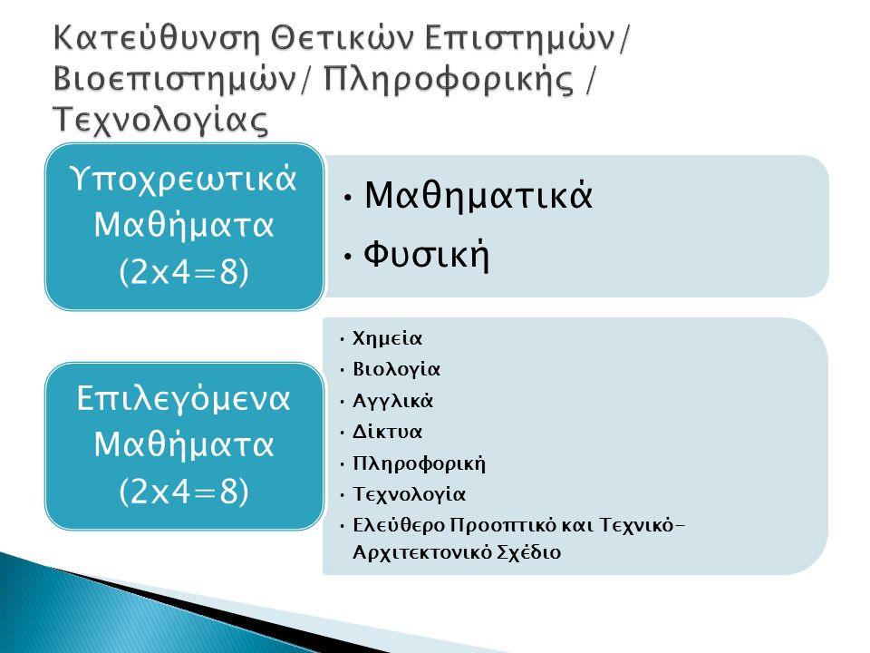 Μαθηματικά Φυσική Υποχρεωτικά Μαθήματα (2x4=8) Χημεία Βιολογία Αγγλικά Δίκτυα Πληροφορική Τεχνολογία Ελεύθερο Προοπτικό και Τεχνικό- Αρχιτεκτονικό Σχέδιο Επιλεγόμενα Μαθήματα (2x4=8)