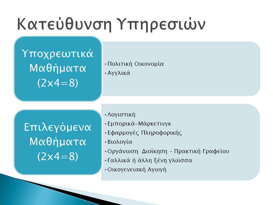 Πολιτική Οικονομία Αγγλικά Υποχρεωτικά Μαθήματα (2x4=8) Λογιστική Εμπορικά-Μάρκετινγκ Εφαρμογές Πληροφορικής Βιολογία Οργάνωση Διοίκηση – Πρακτική Γραφείου Γαλλικά ή άλλη ξένη γλώσσα Οικογενειακή Αγωγή Επιλεγόμενα Μαθήματα (2x4=8)