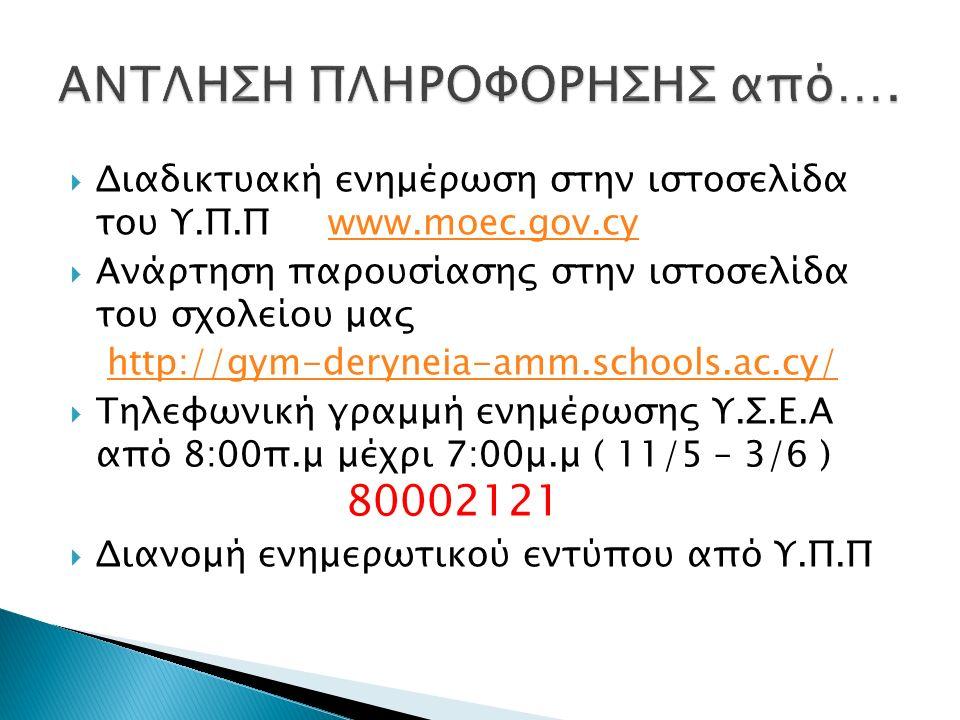  Διαδικτυακή ενημέρωση στην ιστοσελίδα του Υ.Π.Π www.moec.gov.cywww.moec.gov.cy  Ανάρτηση παρουσίασης στην ιστοσελίδα του σχολείου μας http://gym-deryneia-amm.schools.ac.cy/  Τηλεφωνική γραμμή ενημέρωσης Υ.Σ.Ε.Α από 8:00π.μ μέχρι 7:00μ.μ ( 11/5 – 3/6 ) 80002121  Διανομή ενημερωτικού εντύπου από Υ.Π.Π