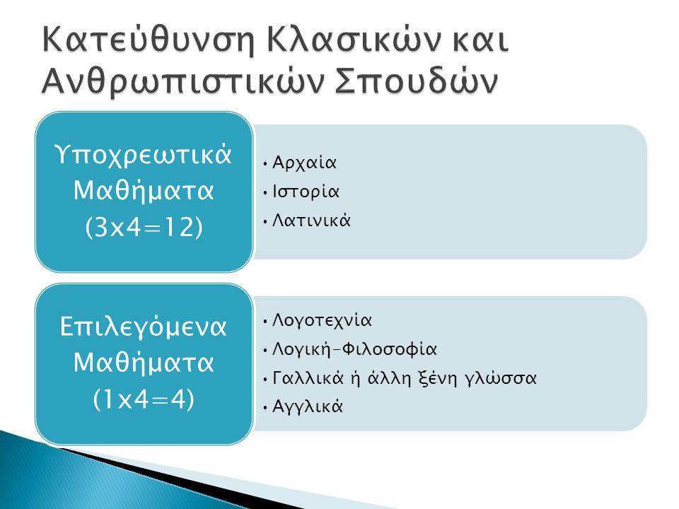 Αρχαία Ιστορία Λατινικά Υποχρεωτικά Μαθήματα (3x4=12) Λογοτεχνία Λογική-Φιλοσοφία Γαλλικά ή άλλη ξένη γλώσσα Αγγλικά Επιλεγόμενα Μαθήματα (1x4=4)