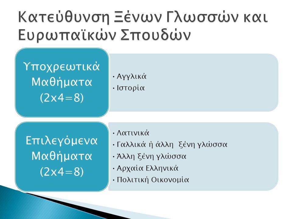 Αγγλικά Ιστορία Υποχρεωτικά Μαθήματα (2x4=8) Λατινικά Γαλλικά ή άλλη ξένη γλώσσα Άλλη ξένη γλώσσα Αρχαία Ελληνικά Πολιτική Οικονομία Επιλεγόμενα Μαθήμ
